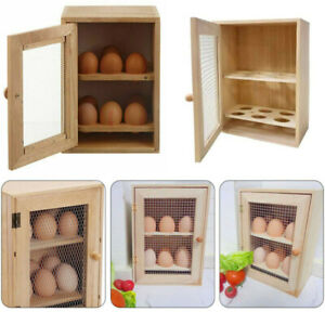 Kitchen Wooden Egg Holder 2 Tier Rack 12 Storage Boxes Container Cupboard House