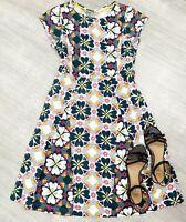 Ladies White Stuff Aline Dress Sz 10 Clover Floral Green Mix Short Sleeve Casual