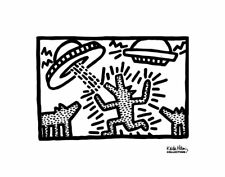 POP ART PRINT - Untitled, 1982 (dogs with UFOs) by Keith Haring Poster 11x14
