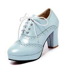 Wome's Ladies High Block Heel Platofrm Lace Up Brogue Oxford Shoes  W1581