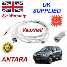 Vauxhall ANTARA Micro USB Audio Cable For Samsung etc & 1.0A Power Adapter