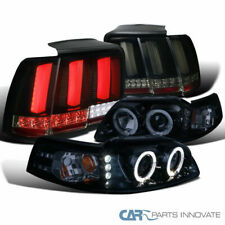 Fit 99-04 Mustang Glossy Black Projector Headlights+Smoke LED Sequential Tail