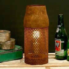 Industrial Metal Cylinder Table Lamp, Rusty Perforated Finish, Vintage Accent