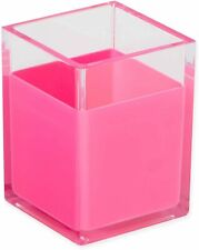 Homecrate Modern Acrylic Pen And Pencil Cup Holder Desk Organizer Clearpink