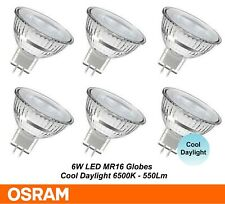 6 x OSRAM LED Downlight Globes Bulbs Lamps 6W 12V MR16 Cool Daylight 550Lm