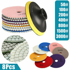 8pcs Wet Dry Diamond Polishing Pads 4 Inch Set Kit for Marble Concrete Granite