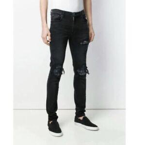 Amiri Men's Black Mx1 Skinny Distressed Ripped Floral Patch Jeans W31x L30