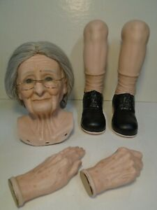 """Porcelain Doll Painted Bisque Kit For Grandma by Larry Wallace 30"""" tall Lot 68"""