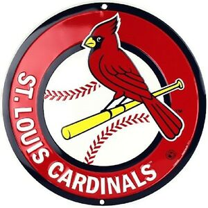ST. LOUIS CARDINALS MLB EMBOSSED METAL NOVELTY ROUND SIGN