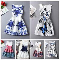 New Summer Autumn Womens Girls Dress Vintage Digital Evening Party Print Dresses