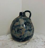 Vintage Hand Made Pottery Blue Jug w/Handle Signed