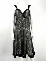 Next Dress UK 12 Black Lace Strappy Cocktail Fit & Flare Evening Party Outfit