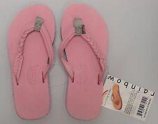 RAINBOW SANDALS Kids Flirty Braidy Leather Sandals Pink/Grey Kids Size 2/3 NWT