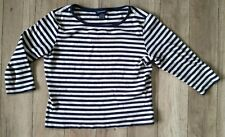The Limited Navy and Cream Striped Shirt Size Large 3/4 Sleeves 100% Cotton