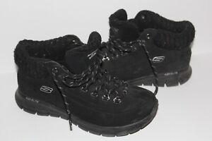 Skechers ELITE Lace Boot/High Top Shoes 6.5 Warm Tech Memory Foam Black Suede