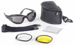 Motorrad Biker Brille Airfoil inklusive 3 Gläsern und verstellbaren Kopfband NEU