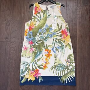 Tommy Bahama Heritage Silk Shift Dress Sz L Tropical Palm Leaf Floral Lined $175