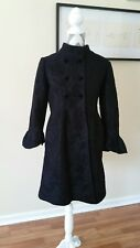 Zara Knit M Medium Woman's Black Coat Long Jacket Bell Sleeve