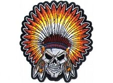"(F8) INDIAN SKULL HEADDRESS 3.5"" x 4"" iron on patch (4665) Biker Patches"