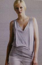 NWT Prada size 10 Grey/White Pinstripe Jersey Lined Top w/logo tag at hem