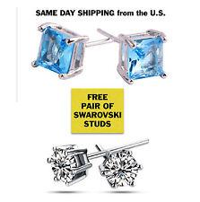14K White Gold 2ct TGW Genuine Blue Topaz Stud Earrings