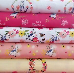 Beatrix Potter Peter Rabbit Cotton Fabrics Floral Rabbit 110cm wide