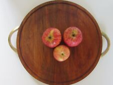 RUSTIC ROUND WOOD CHEESE BOARD BRASS HANDLES SERVING TRAY CHOPPING BOARD DECOR