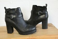 BLACK LEATHER HIGH HEEL ANKLE BOOTS SIZE 6 / 39 BY NEW LOOK USED CONDITION