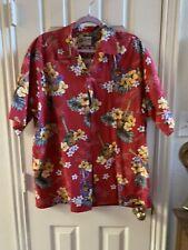 Hilo Hattie Hawaiian Original Mens sz L 100% Cotton Shirt Red Ukulele