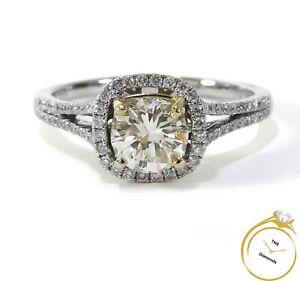 1.30ct Diamond Round Halo 14k White Yellow Gold Wedding Engagement Ring
