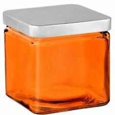 """Couronne - Glass Container with Metal Lid - 4"""" - Orange"""