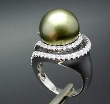 Giant 14mm South Sea Pearl Moss Green 18k Gold 1.08ct Diamond Ring