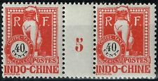 INDOCHINE TAXE N° 42 PAIRE MILLESIME 5 NEUVE **/* TIMBRES LUXES COTE 170 €