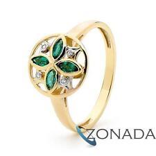 Emerald Diamond 9k 9ct Solid Yellow Gold Modern Style Petal Dressing Ring Size P