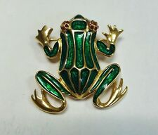 Trifari Green Enamel And Red Stone Eyes Frog Brooch
