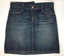 "Earnest Sewn Cotton Distressed ""Cutter"" Blue Denim Skirt Size 27 (US)"