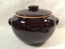 Vintage Brown Glaze Bean Pot/Cookie Jar w/Lid