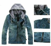 New Men's Slim Fit Hooded Casual Coat Jean Denim Jacket Outerwear Hot