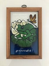 """Vintage Stained Glass Frog And Butt 00004000 erfly Wood Frame 10�x7"""""""