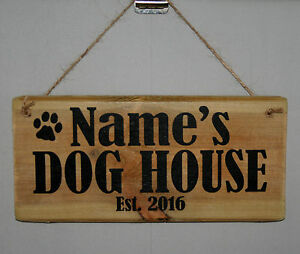 Name Sign Plaque Personalised DOG HOUSE Est. 2021 Puppy Kennel Bedroom Den Pad