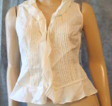 NWT CARLISLE Ivory Pintuck Ruffled Sleeveless 100% Bamboo Summer Top Shirt 2