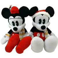 Lot 2- Mickey & Minnie Mouse Winter Christmas Holiday Stuffed Animals Disney
