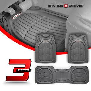 Swiss Drive Premium Heavy-Duty Deep Dish SAND GRAY Car Floor Mats PVC 3 Pieces