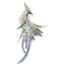 Silver tone peacock brooch pin made with Swarovski crystals PIN010003