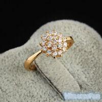Women Fashion 18K Yellow Gold Plated Zircon Flower Rhinestone Finger Ring