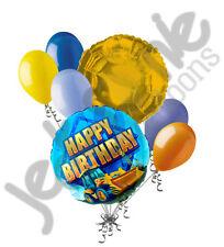 7 pc Construction Balloon Bouquet Decoration Happy Birthday Tractor Dump Truck