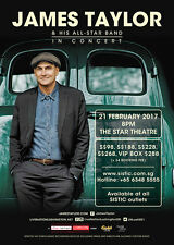 "JAMES TAYLOR & HIS ALL-STAR BAND ""IN CONCERT"" 2017 SINGAPORE TOUR POSTER - Rock"