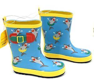 NEW! Toddler Boys' Rain Boots Sz 5/6  Shoe Shark Print Rain & Garden Waterproof