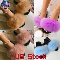 Women's Faux Fur Slides Fuzzy Slippers Fluffy Sandals Open Toe Indoor Flats Shoe
