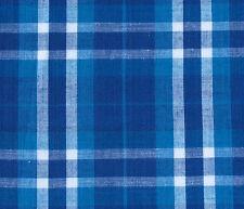 Blue, Navy, White Cotton Fabric. 2½ Yards. Madras Plaid. Woven Tartan.